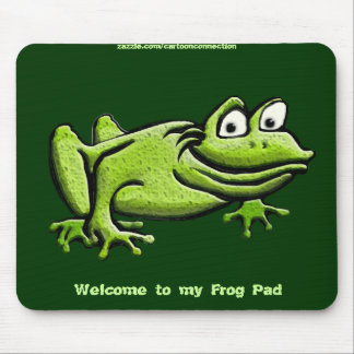 Green Frog Cartoon Mouse Pad