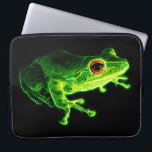 """Green Frog Computer Sleeve<br><div class=""""desc"""">A fractalized green frog with fiery orange eyes against a black background.</div>"""