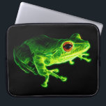 "Green Frog Computer Sleeve<br><div class=""desc"">A fractalized green frog with fiery orange eyes against a black background.</div>"