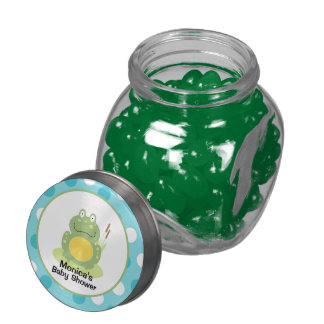 Green Frog Customized Glass Candy Favor Glass Jar