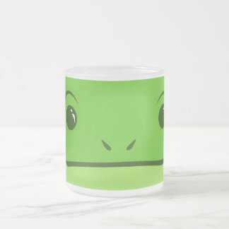 Green Frog Cute Animal Face Design Frosted Glass Coffee Mug