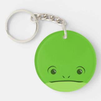 Green Frog Cute Animal Face Design Keychain