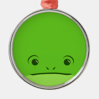 Green Frog Cute Animal Face Design Round Metal Christmas Ornament