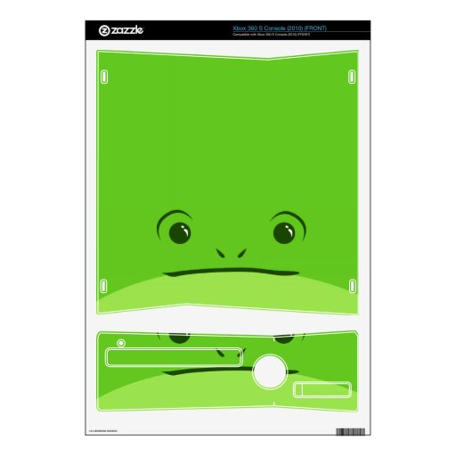 Green Frog Cute Animal Face Design Xbox 360 S Skin