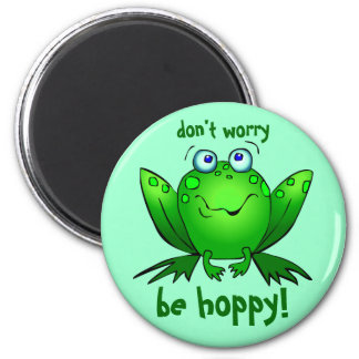 Green Frog Dont Worry Be Hoppy Aqua 2 Inch Round Magnet