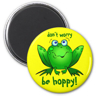 Green Frog Dont Worry Be Hoppy Yellow Magnets