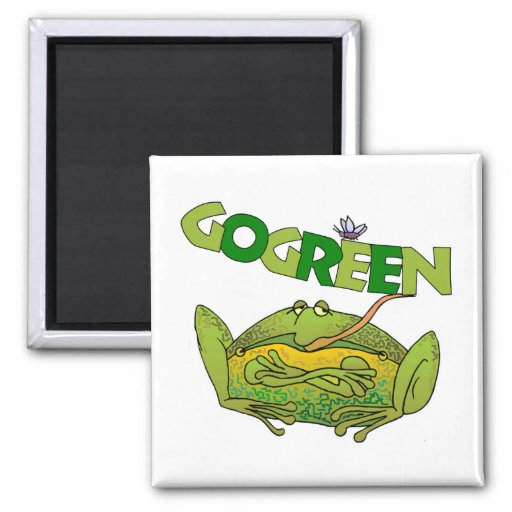 Green Frog Ecology Gift 2 Inch Square Magnet
