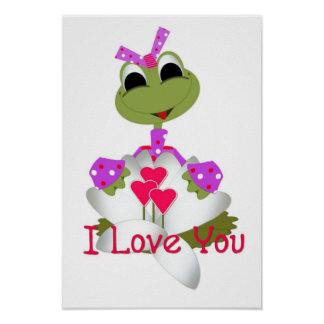 Green Frog & Hearts I Love You Print