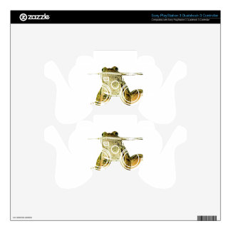 Green frog in water isolated on white PS3 controller decals