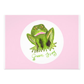 green frog personalised invitation