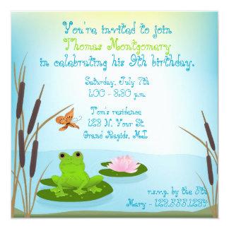 Green Frog Kid's Birthday Party Invitation