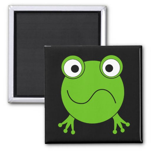 Green Frog. Looking confused. 2 Inch Square Magnet