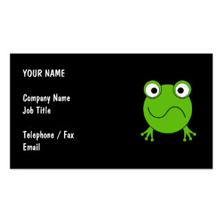 Green Frog. Looking confused. Business Card