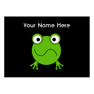 Green Frog. Looking confused. Large Business Cards (Pack Of 100)
