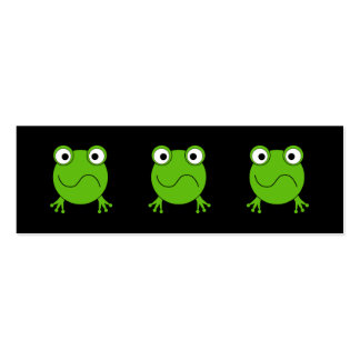 Green Frog. Looking confused. Double-Sided Mini Business Cards (Pack Of 20)
