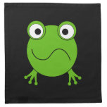 Green Frog. Looking confused. Cloth Napkins