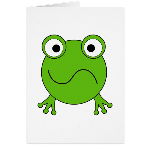 Green Frog. Looking confused. Greeting Cards
