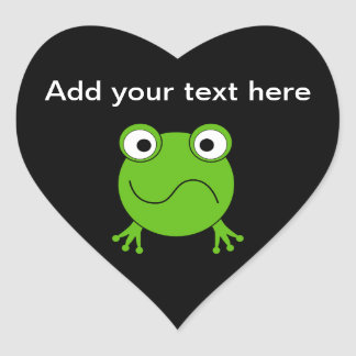 Green Frog. Looking confused. Heart Sticker