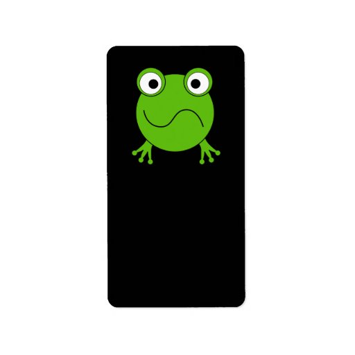 Green Frog. Looking confused. Personalized Address Label