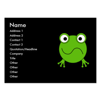 Green Frog. Looking confused. Large Business Card