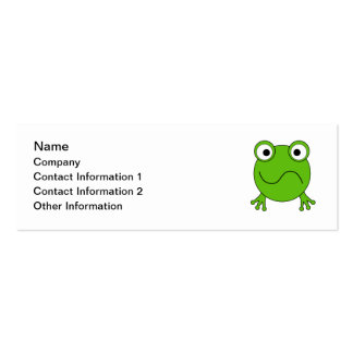 Green Frog. Looking confused. Mini Business Card