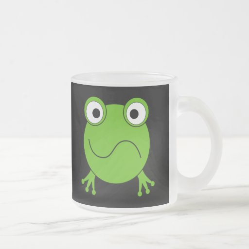 Green Frog. Looking confused. 10 Oz Frosted Glass Coffee Mug