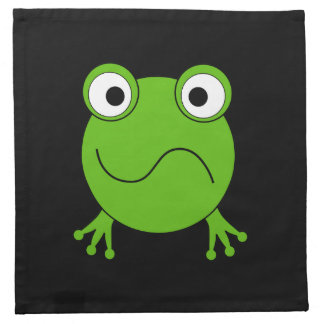 Green Frog. Looking confused. Cloth Napkin