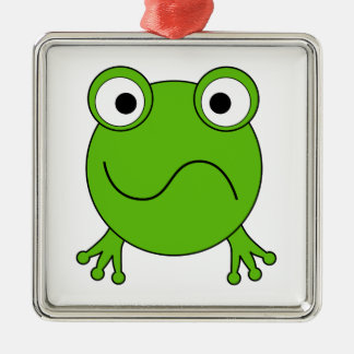 Green Frog. Looking confused. Christmas Ornaments