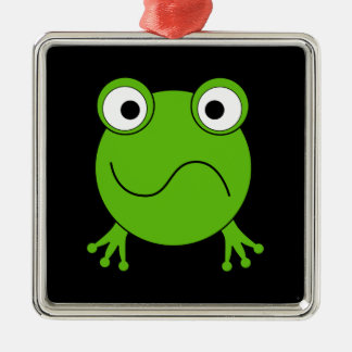 Green Frog. Looking confused. Ornament