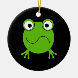 Green Frog. Looking confused. Ornaments