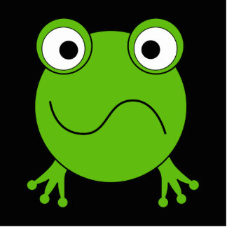 Green Frog. Looking confused. Acrylic Cut Outs
