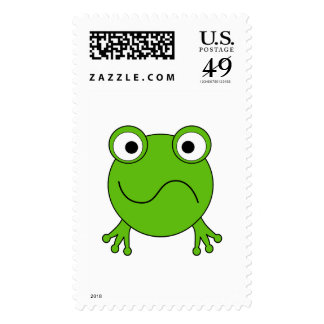 Green Frog. Looking confused. Stamps