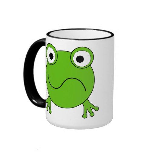 Green Frog. Looking confused. Ringer Coffee Mug