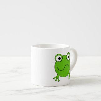 Green Frog. Looking confused. 6 Oz Ceramic Espresso Cup