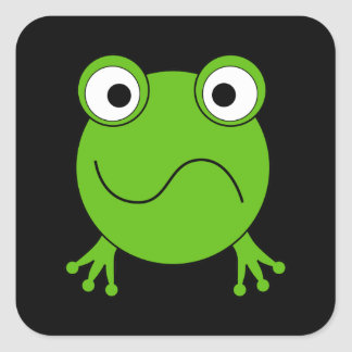 Green Frog. Looking confused. Square Sticker