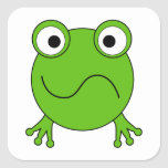 Green Frog. Looking confused. Square Stickers