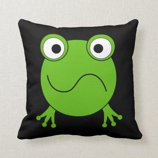 Green Frog. Looking confused. Throw Pillows