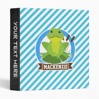Green Frog on Lilypad; Blue & White Stripes Vinyl Binder