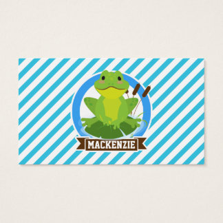 Green Frog on Lilypad; Blue & White Stripes Business Card