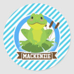Green Frog on Lilypad; Blue & White Stripes Classic Round Sticker