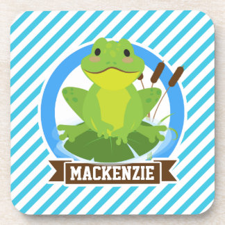 Green Frog on Lilypad; Blue & White Stripes Beverage Coaster