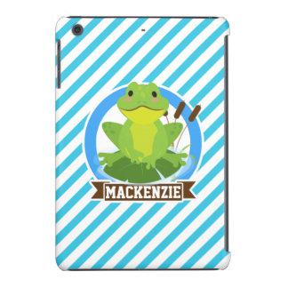 Green Frog on Lilypad; Blue & White Stripes iPad Mini Retina Covers