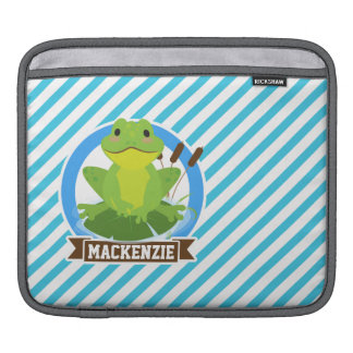 Green Frog on Lilypad; Blue & White Stripes Sleeves For iPads