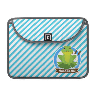 Green Frog on Lilypad; Blue & White Stripes Sleeves For MacBook Pro