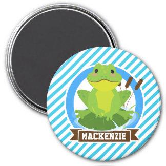 Green Frog on Lilypad; Blue & White Stripes Fridge Magnet