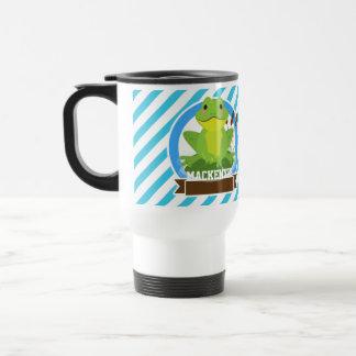 Green Frog on Lilypad; Blue & White Stripes Mugs