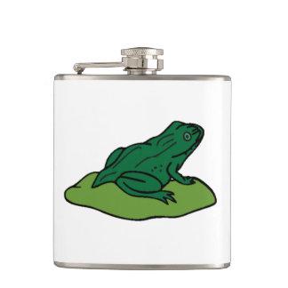 Green Frog On Lilypad Hip Flasks