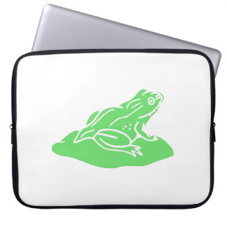 Green Frog On Lilypad Laptop Computer Sleeve
