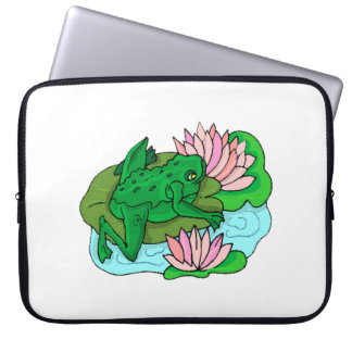 Green Frog On Lilypad Laptop Computer Sleeves