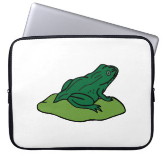 Green Frog On Lilypad Laptop Sleeves